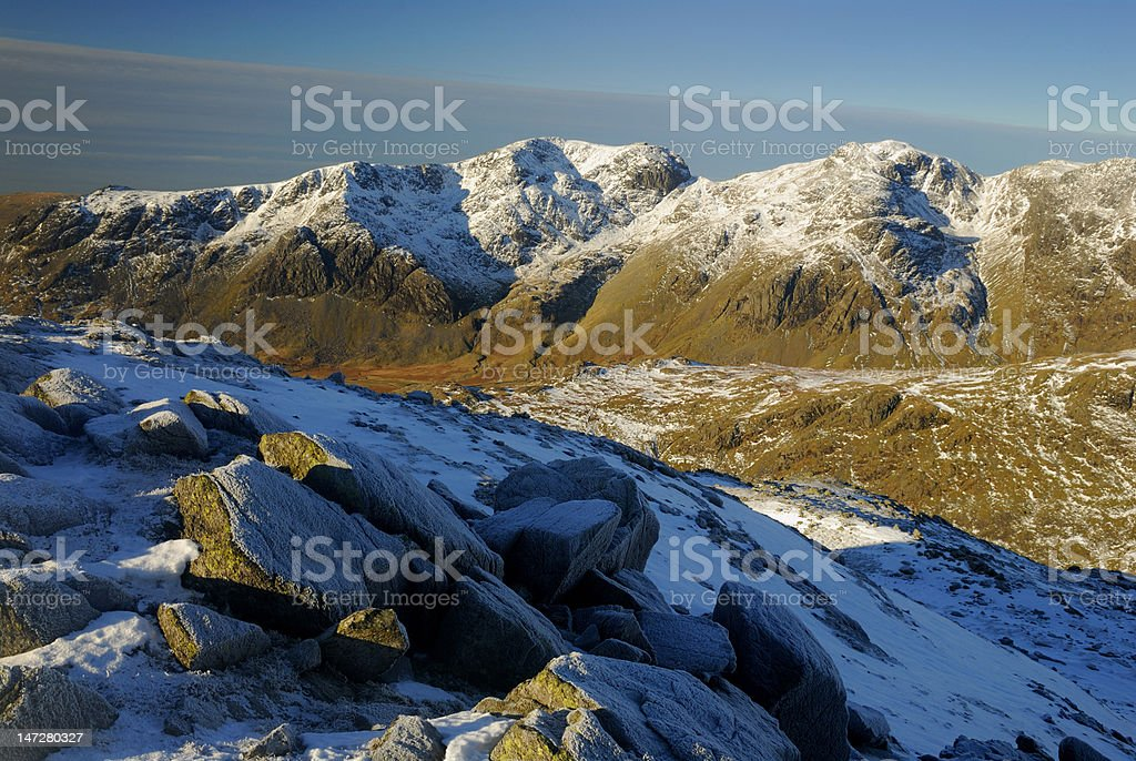 Scafell Pike from Crinkle Crags in winter stock photo