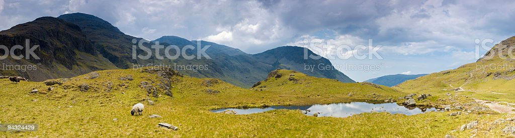 Scafell Pike, moutain tarn, Lake District stock photo