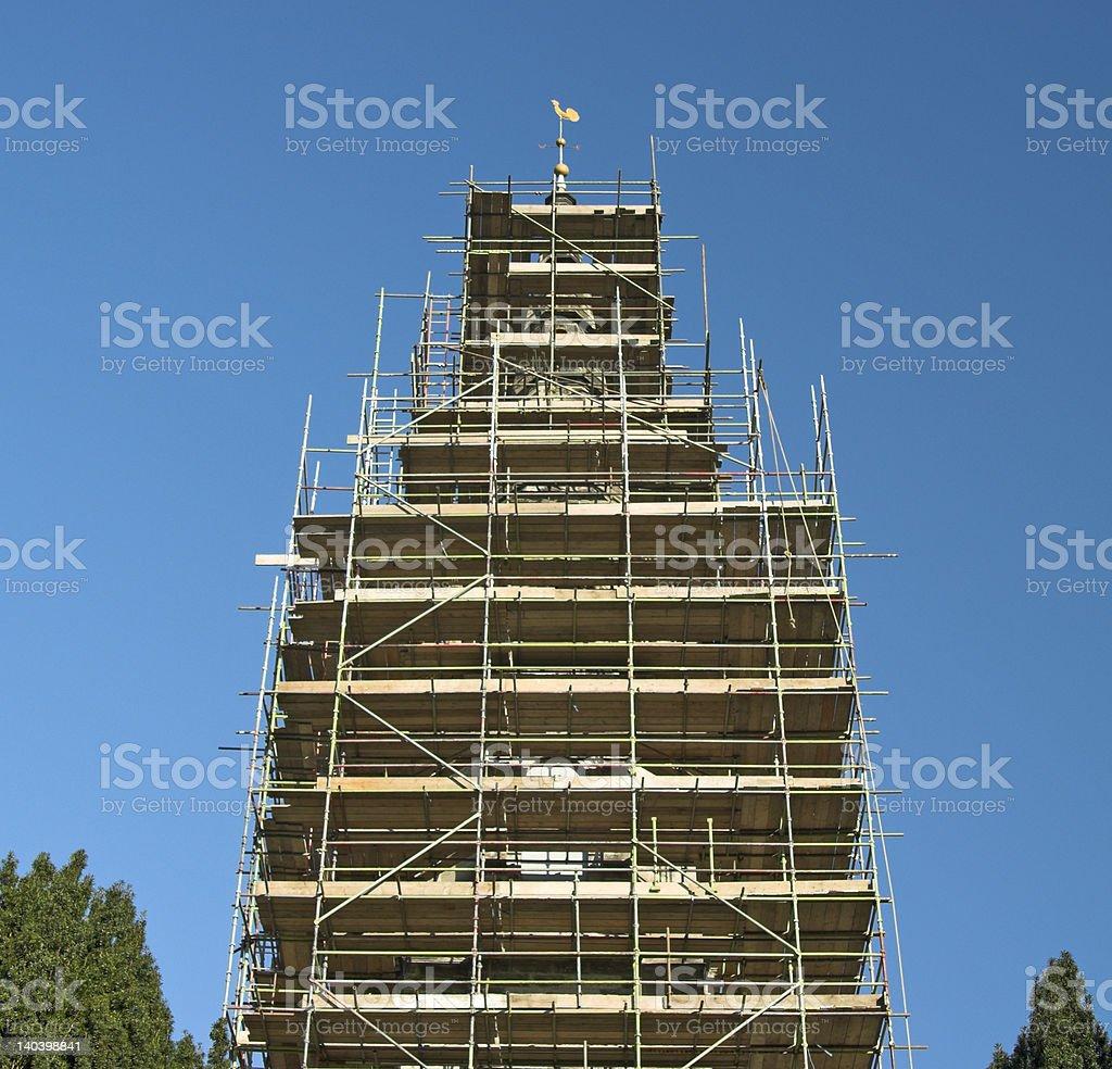 Scaffold around Church Spire royalty-free stock photo