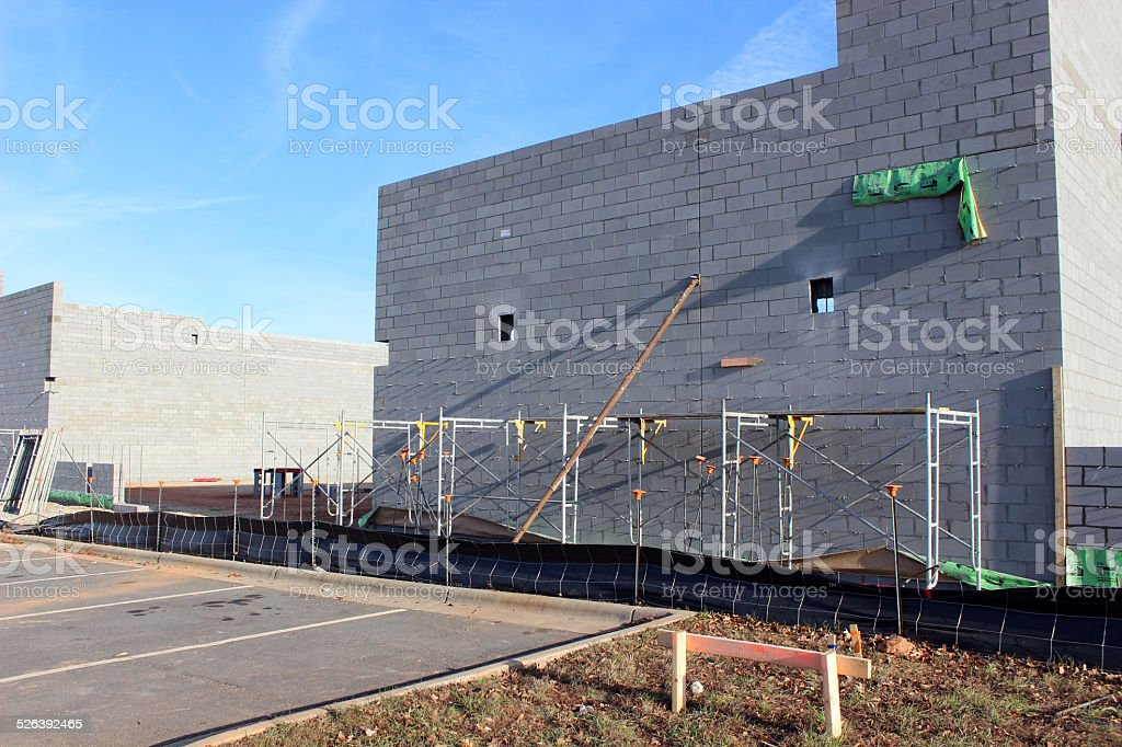 Scaffold at Shopping Center Construction Site stock photo