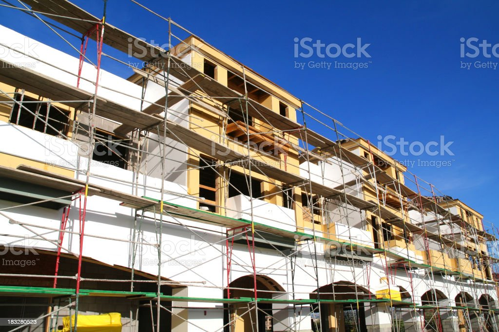 Scaffolding around a construction site stock photo