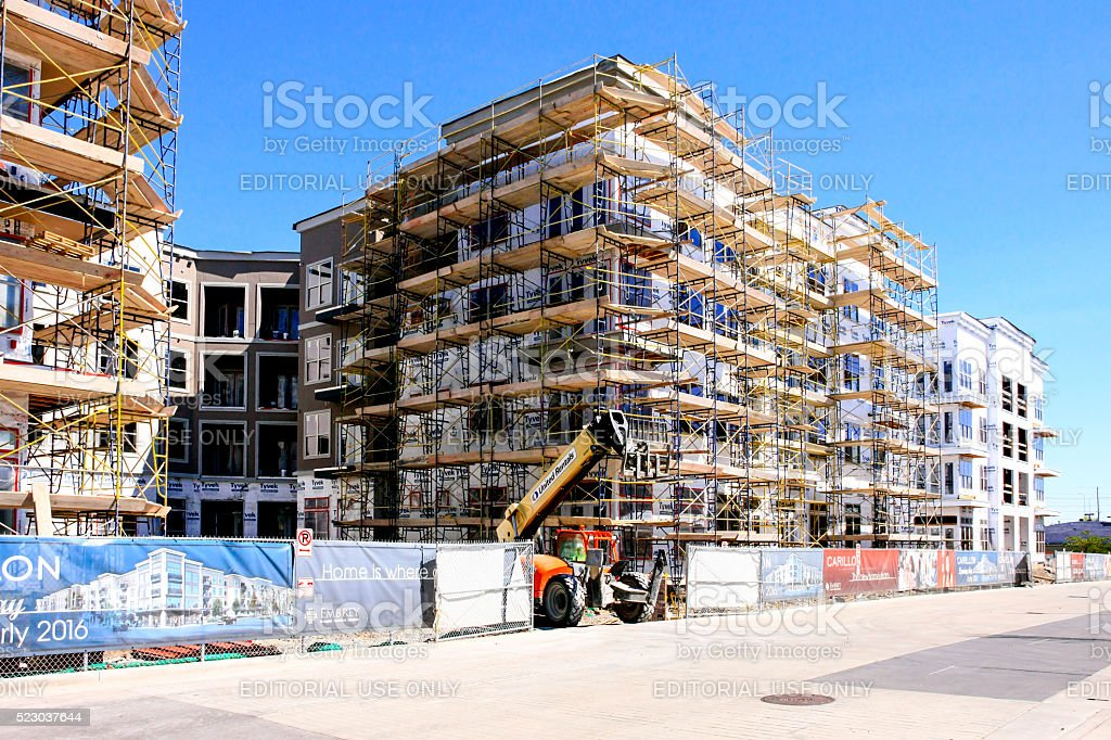 Scaffolding around a new apartment complex in Nashville TN stock photo