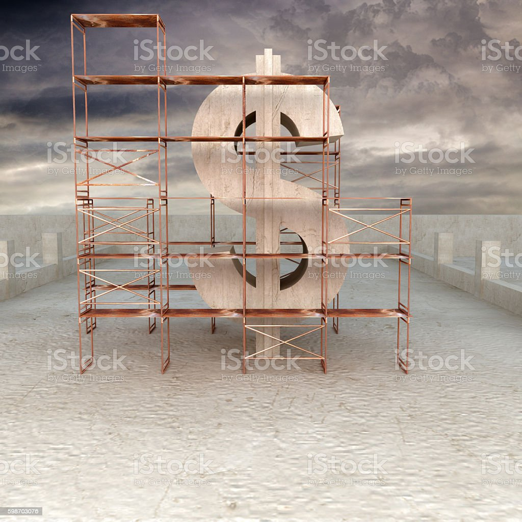 Scaffolding around dollar sign under construction stock photo