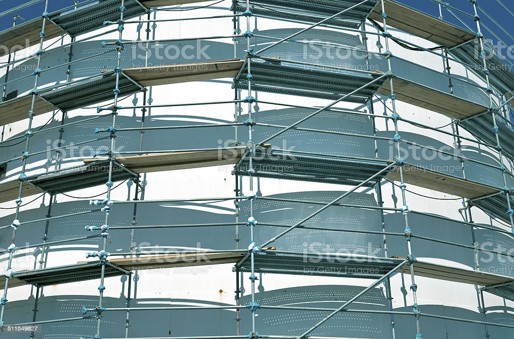 Scaffolding Around Oil Storage Tank At Paper Mill Royalty Free Stock Photo