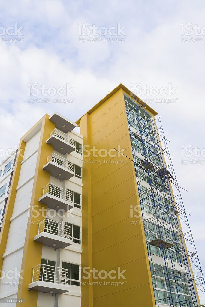 scaffolding at new building construction site royalty-free stock photo