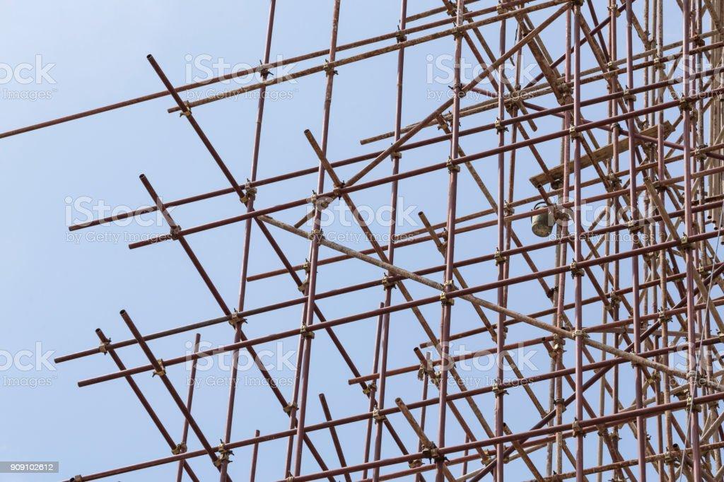 scaffolding coneced stock photo