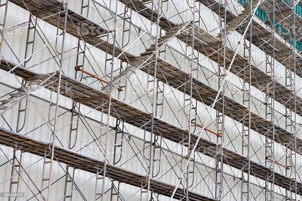 scaffolding for construct a building under construction. stock photo