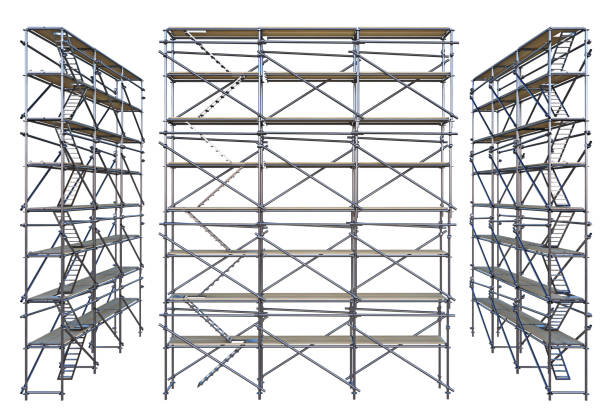 scaffolding isolated on white group scaffolding isolated on white. 3d rendering scaffolding stock pictures, royalty-free photos & images