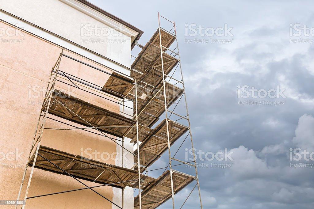 scaffolding on a building renovation stock photo