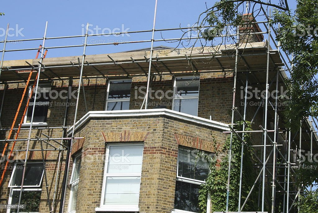 Scaffolding on house royalty-free stock photo