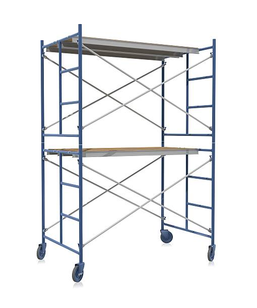 Scaffolding on wheels on a white background Scaffolding on a white background.Could be a useful image for depicting something under construction.This is a detailed 3d rendering. scaffolding stock pictures, royalty-free photos & images