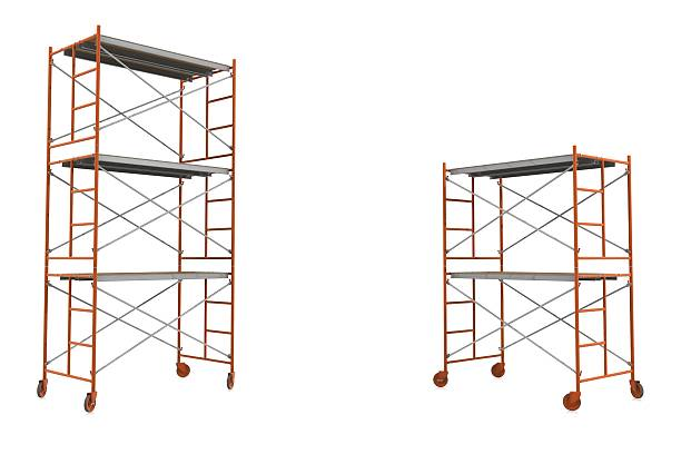 Scaffolding Two sets of orange scaffolding on a white background with copy space for your message or product.Could be a useful image for depicting something under construction.This is a detailed 3d rendering. scaffolding stock pictures, royalty-free photos & images