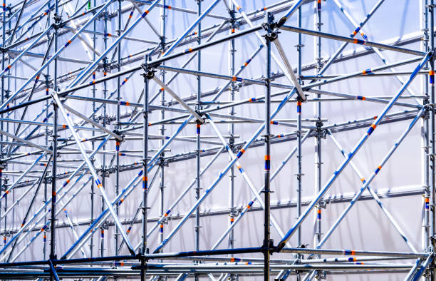 scaffolding modern scaffolding at a construction site scaffolding stock pictures, royalty-free photos & images
