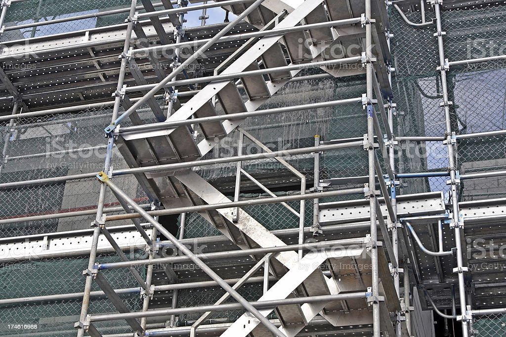 Scaffolding Stairs On Building Site Royalty Free Stock Photo