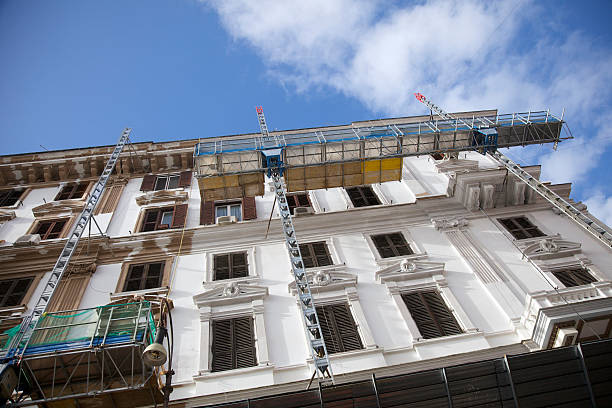 Scaffolding used to renovate an old building  stock photo