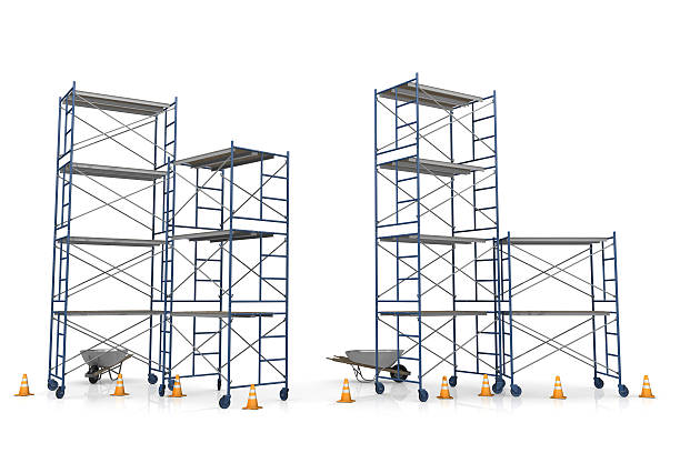 Scaffolding with construction cones on a white background Work site with scaffolding and traffic cones isolated on white.Could be useful in a construction composition.This is a detailed 3d rendering. scaffolding stock pictures, royalty-free photos & images