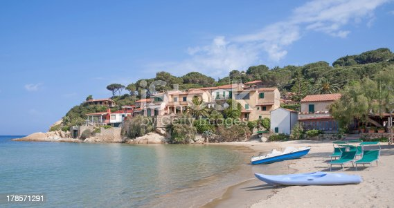 Beach and Village of Scaglieri on Elba Island in Tuscany,Italy