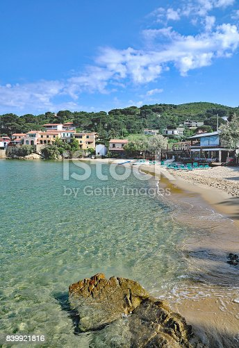 Beach and Village of Scaglieri on Island of Elba,Tuscany,mediterranean Sea,Italy