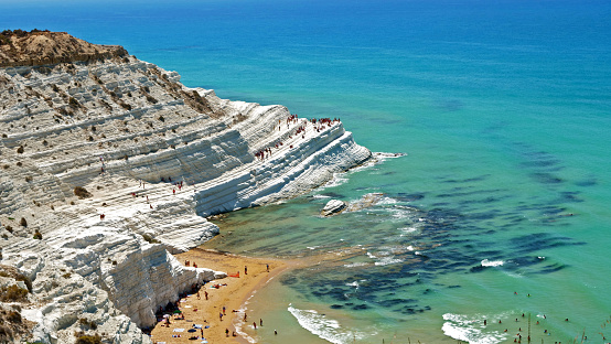 Scala dei Turchi with turquoise mediterranean sea- Sicily, Italy