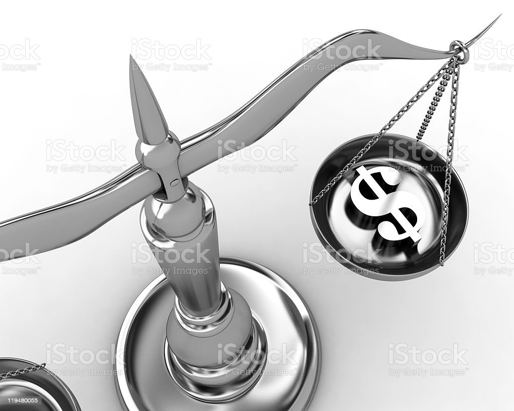 Scale and dollar sign stock photo