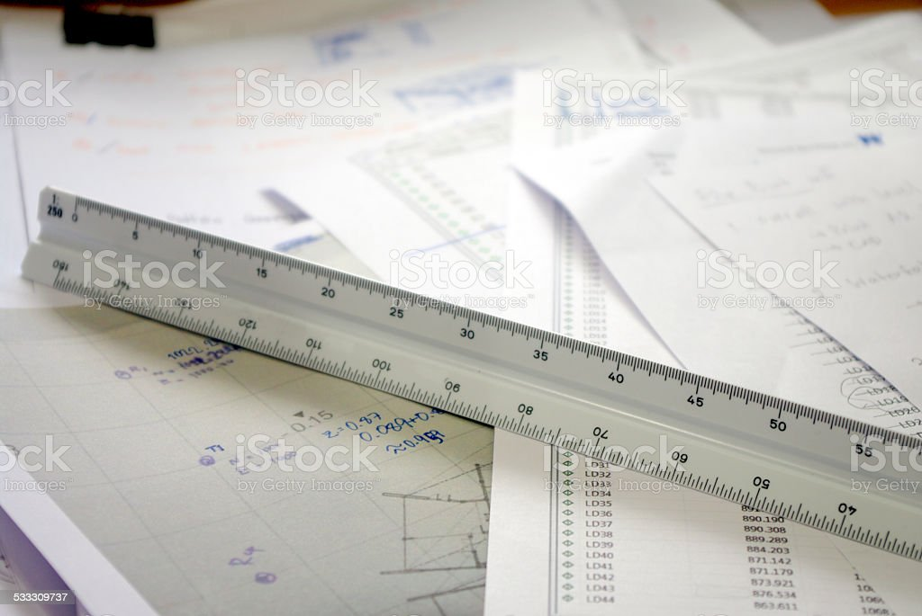 scale, architecture and engineer triangle ruler royalty-free stock photo