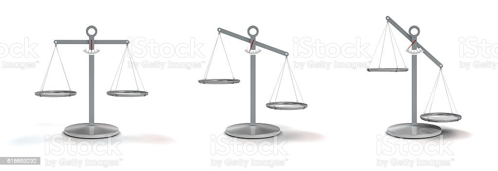 scale balanced and unbalanced stock photo