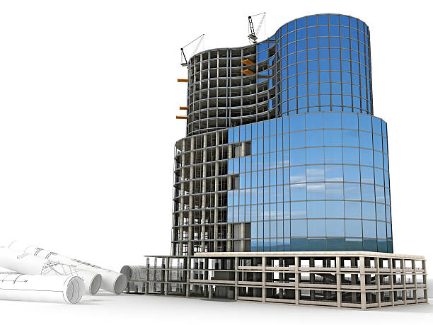 Scale model of a skyscraper with cloud reflection stock photo