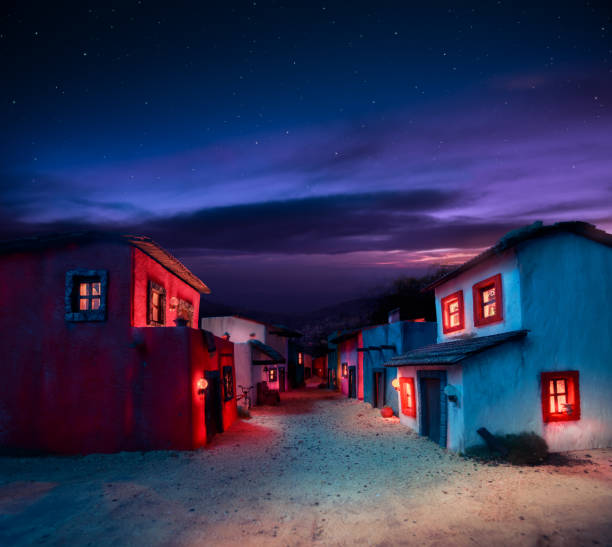 Scale model of a typical mexican village at night