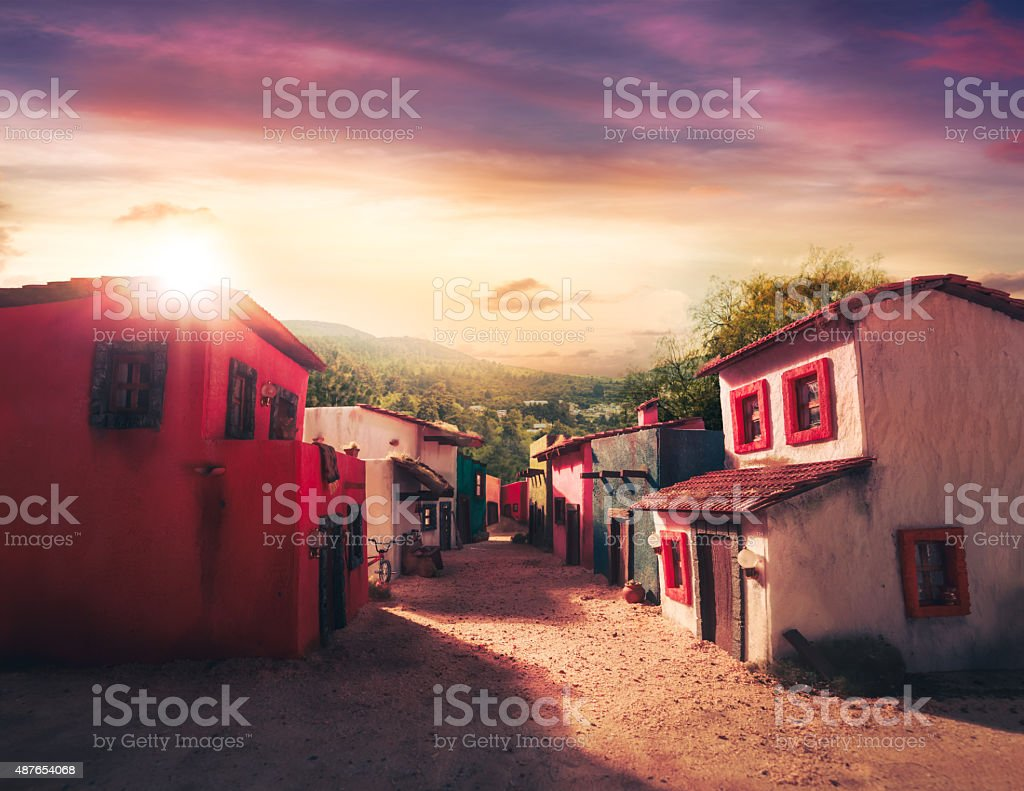Scale model of a typical mexican village at sunset stock photo