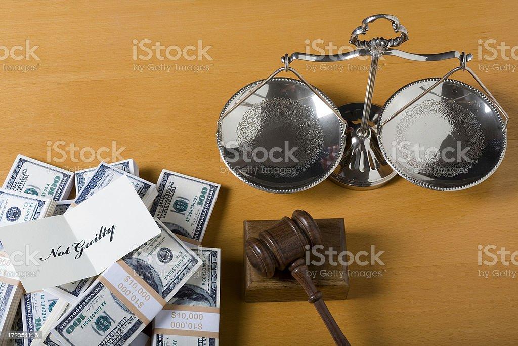 Escala de Justicia dinero y evaluación foto de stock libre de derechos