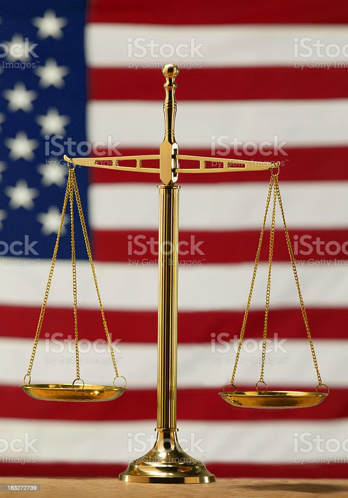 Scale of Justice with American Flag royalty-free stock photo