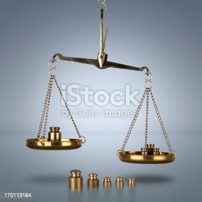 Gold weighing scale.