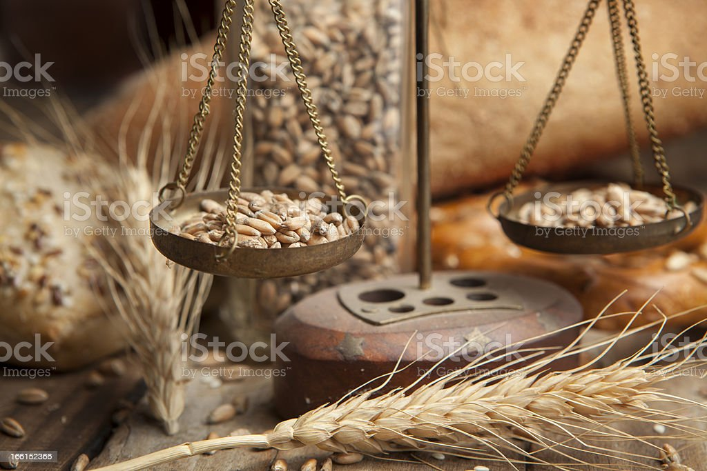 scale with cereals and bakery royalty-free stock photo