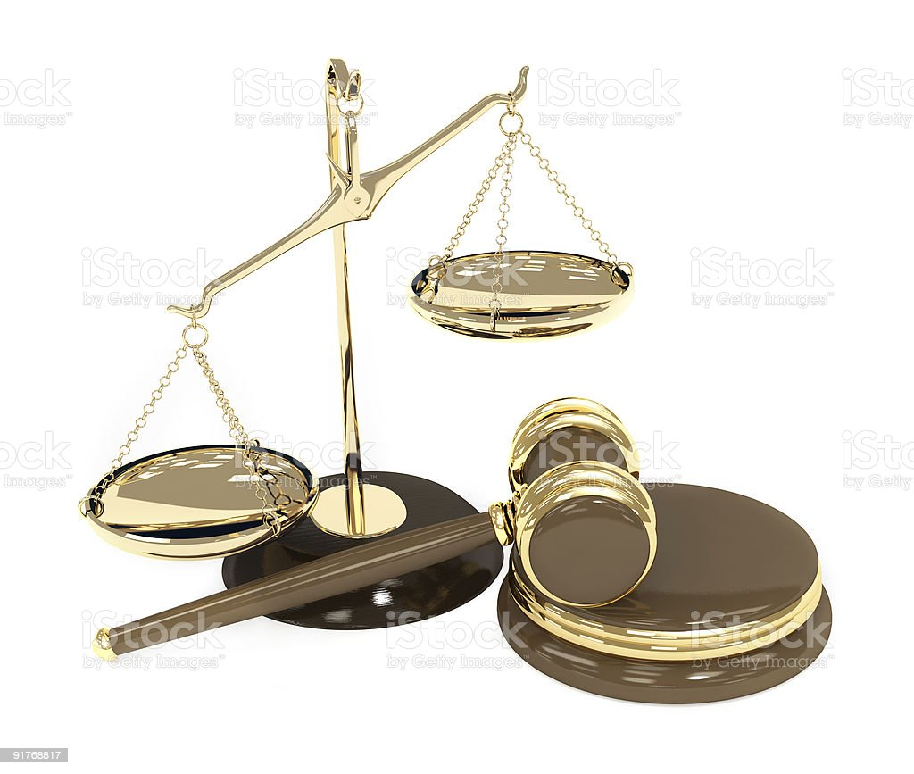 Scales and mallet representing choice of justice stock photo