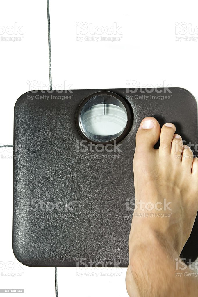 Escalas baño peso pie humano foto de stock libre de derechos