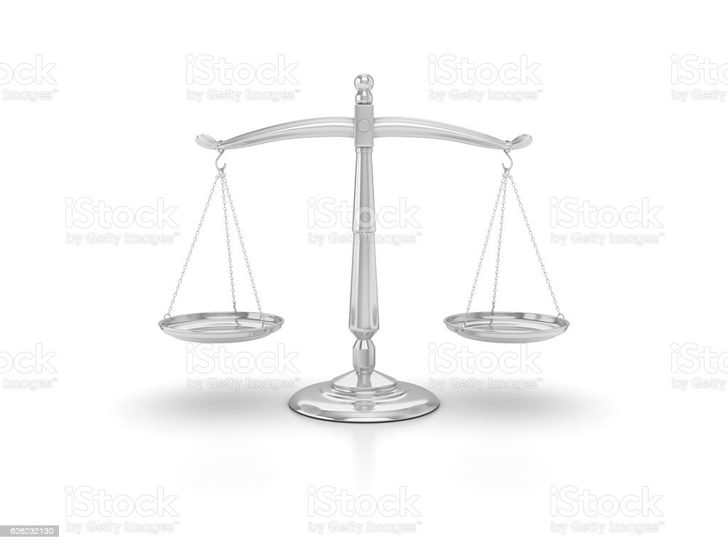 Scales fo Justice - 3D Rendering stock photo