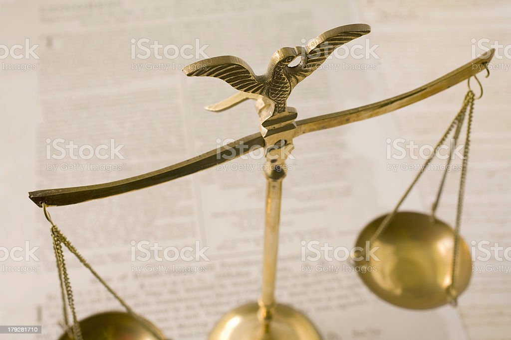 Scales of Justice and Bill Rights royalty-free stock photo