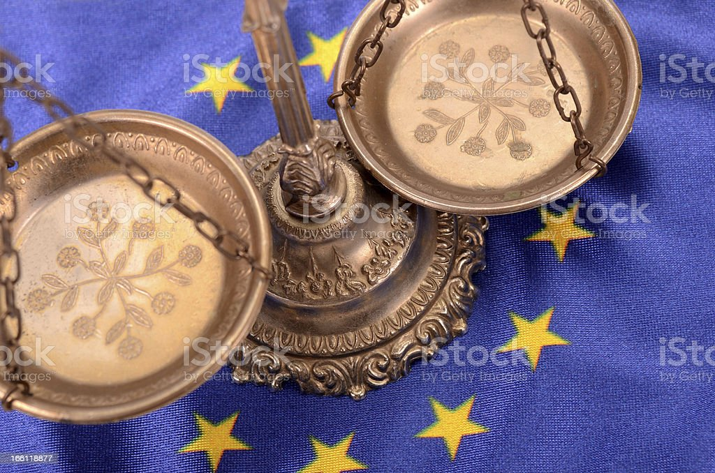 Scales of justice and European union Flag royalty-free stock photo