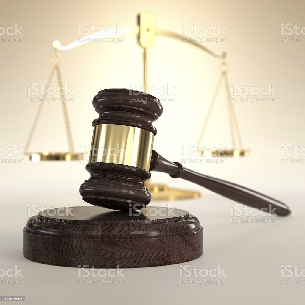 Scales of Justice and gavel royalty-free stock photo