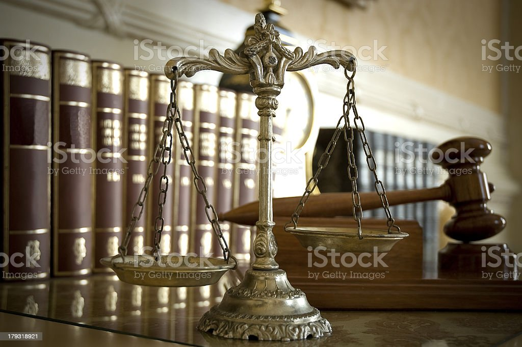 Scales of Justice and Judge`s gavel royalty-free stock photo