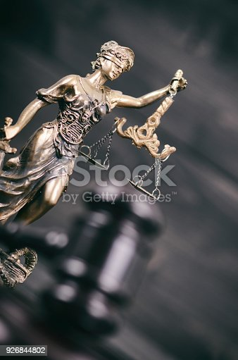 istock Scales of Justice, Judge Gavel, Justitia, Lady Justice on a black wooden background. 926844802