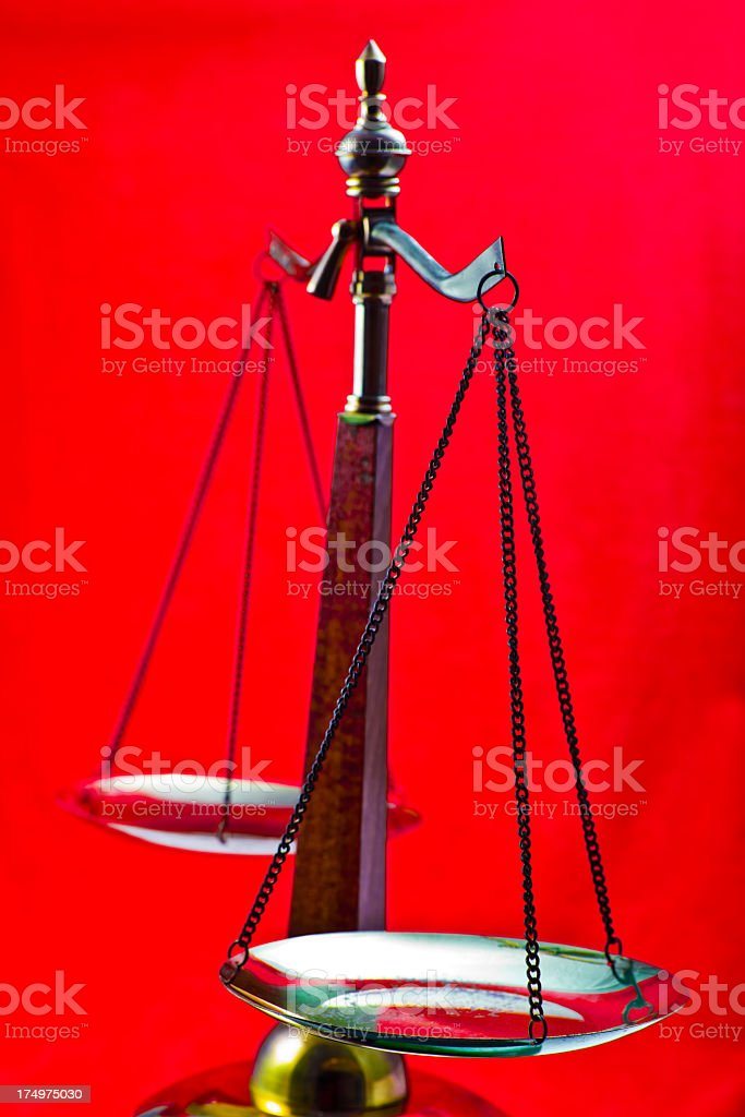 Scales Of Justice on Red royalty-free stock photo