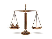 Scales of Justice - on white background - gold - 3d illustration rendering