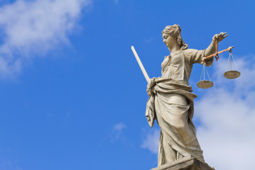 Lady Justice statue in Dublin representing justice & equality.