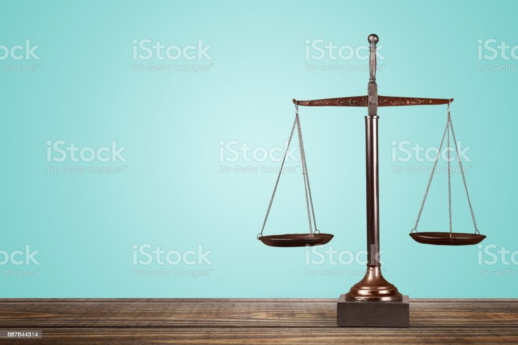 Scales of justice. Scales of Justice on table, Weight Scale, Balance. Arranging Stock Photo