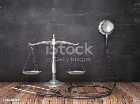 Scales of Justice with Stethoscope on Wood Floor - Chalkboard Background - 3D Rendering