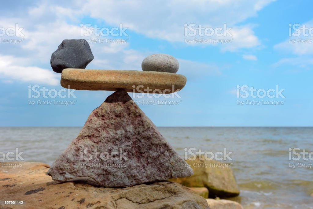 Scales on the seashore stock photo