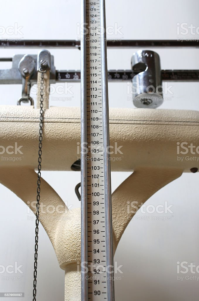 scales to measure weight and height of children with obesity stock photo