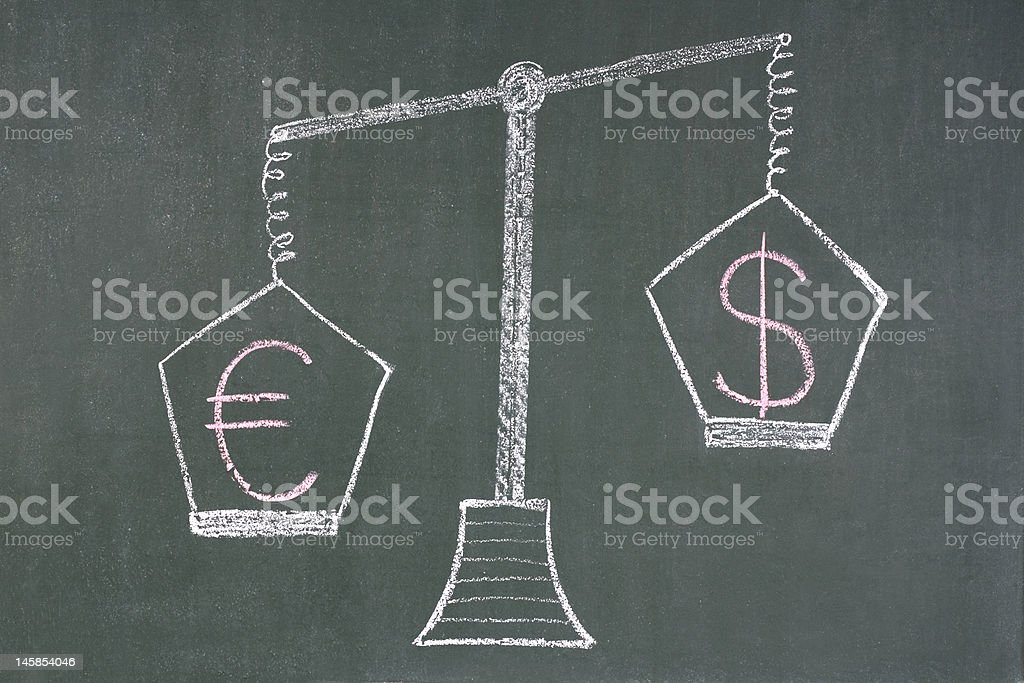 Scales with dollar and euro symbols royalty-free stock photo