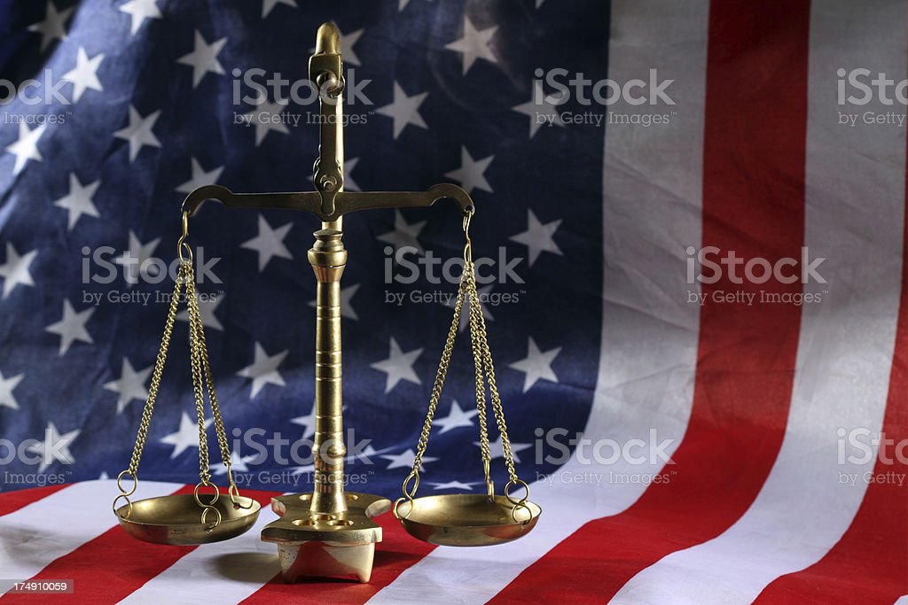 scales with flag background horizontal stock photo